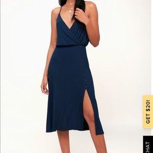 Navy blue, ribbed midi dress. *Brand New*